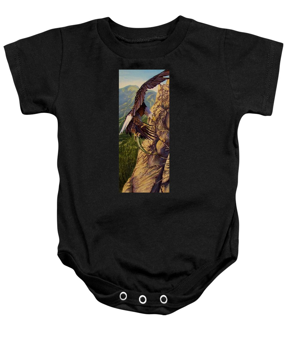 Eagle Baby Onesie featuring the painting Bald Eagle by Greg and Linda Halom