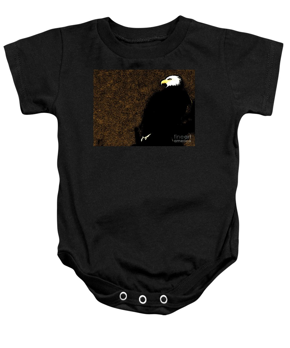 Nature Baby Onesie featuring the photograph Bald Eagle In Repose by Ron Tackett