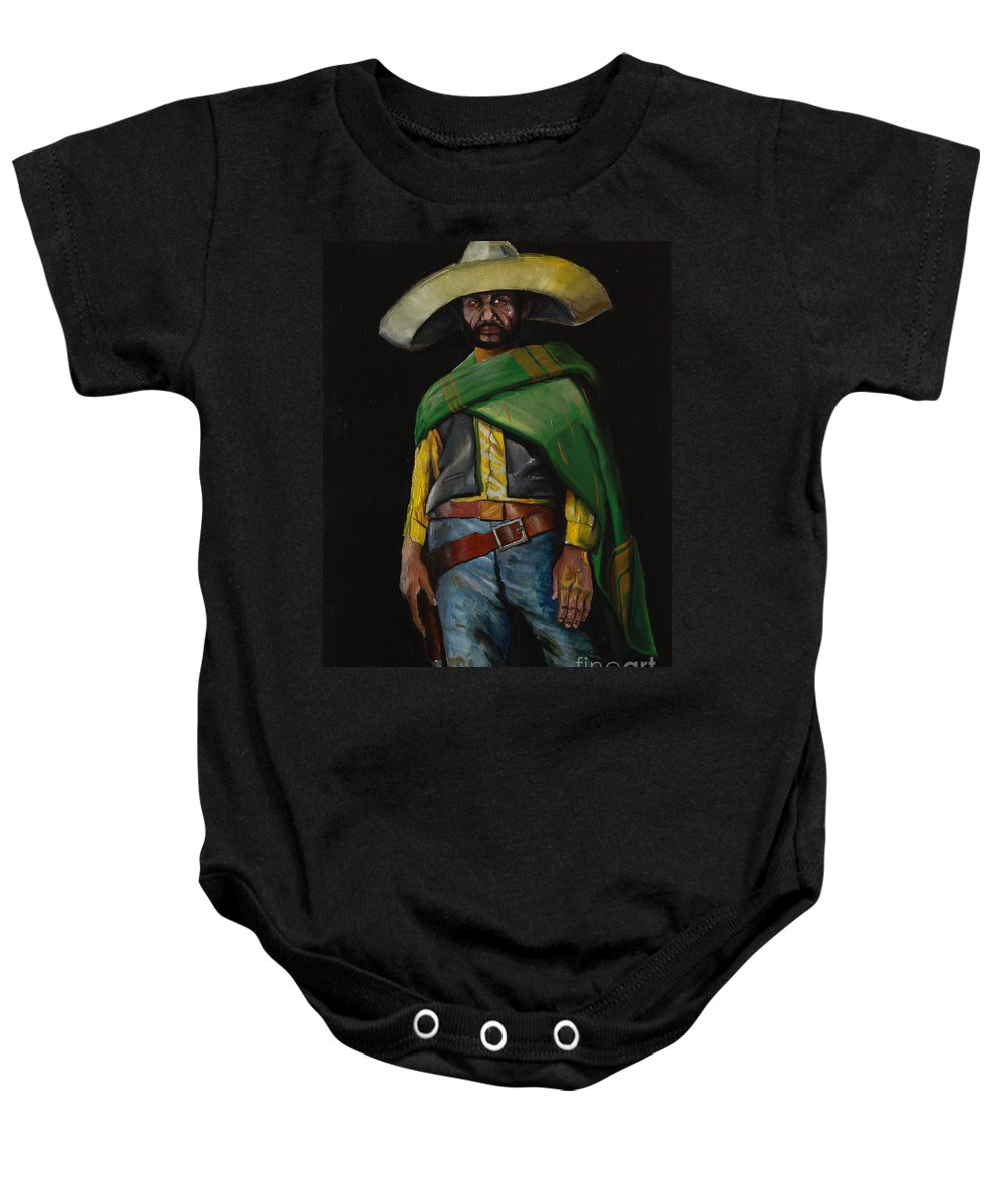 Mexican Cowboy Baby Onesie featuring the painting Bandito by George Ameal Wilson