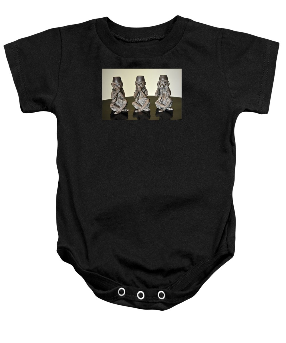 3wise Monkeys Baby Onesie featuring the photograph Barbary Macaques Monkeys by Jay Milo