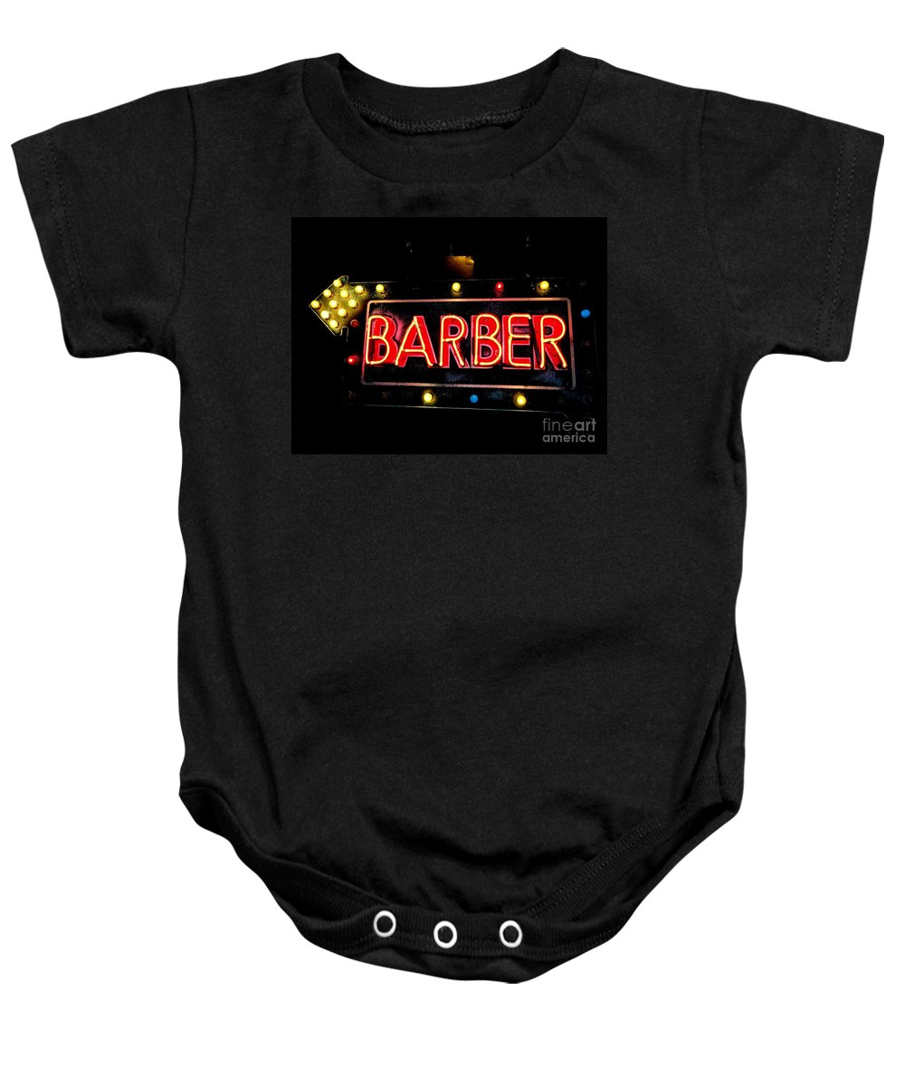 Signs Baby Onesie featuring the photograph Barber This Way by Ed Weidman
