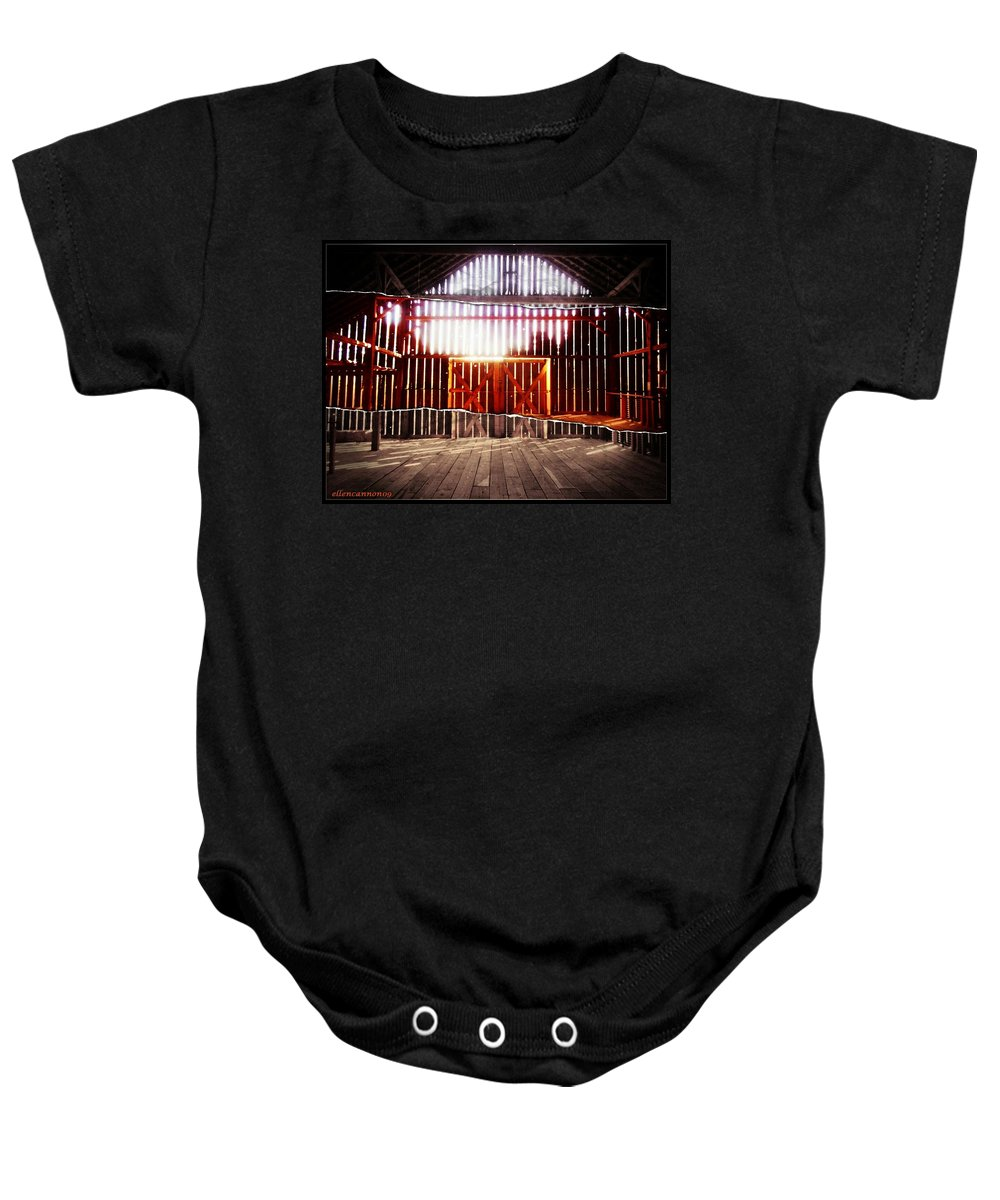 Barn Interior Baby Onesie featuring the photograph Barnlight II by Ellen Cannon
