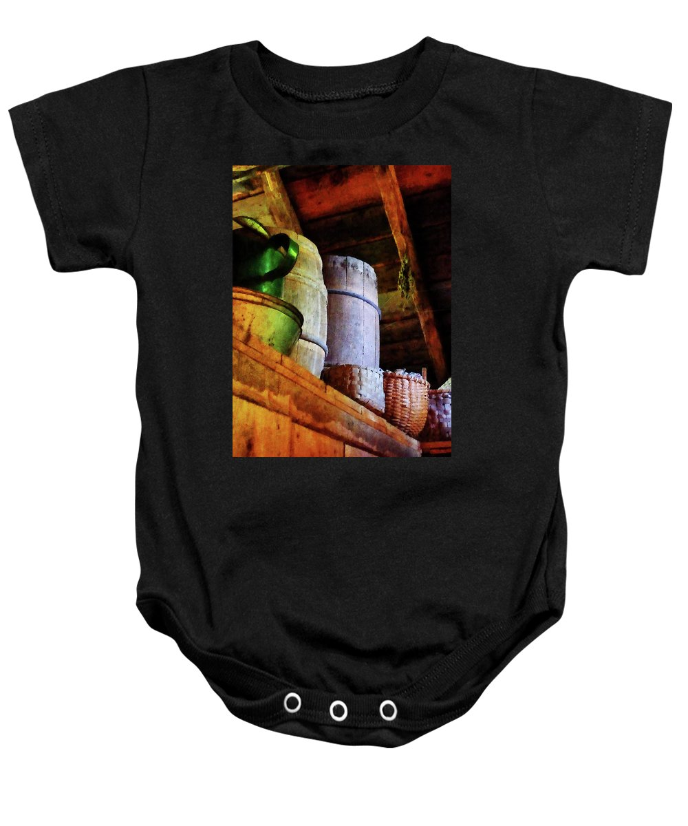 Americana Baby Onesie featuring the photograph Baskets And Barrels In Attic by Susan Savad