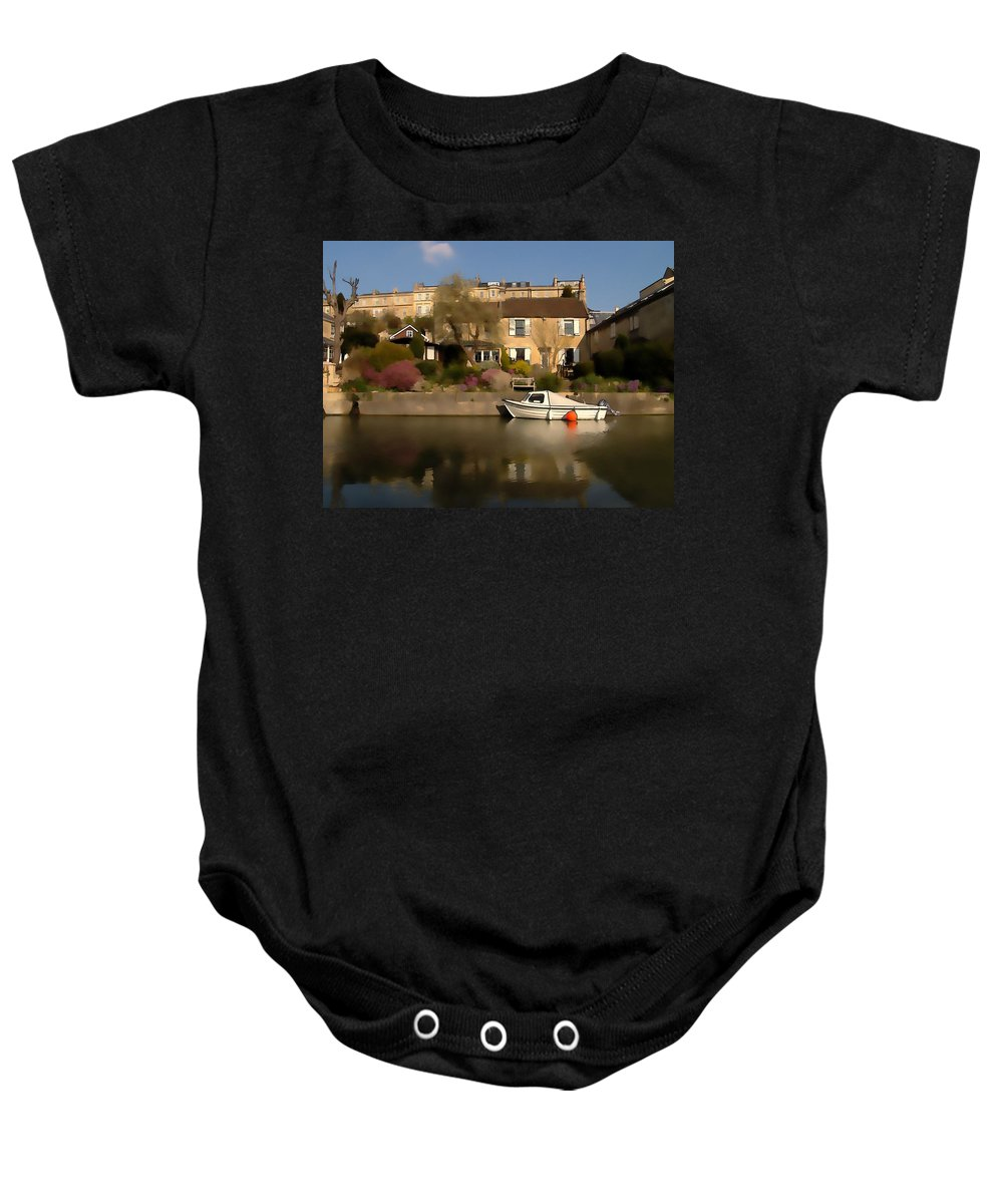 Canal Baby Onesie featuring the photograph Bath Canalside by Ron Harpham