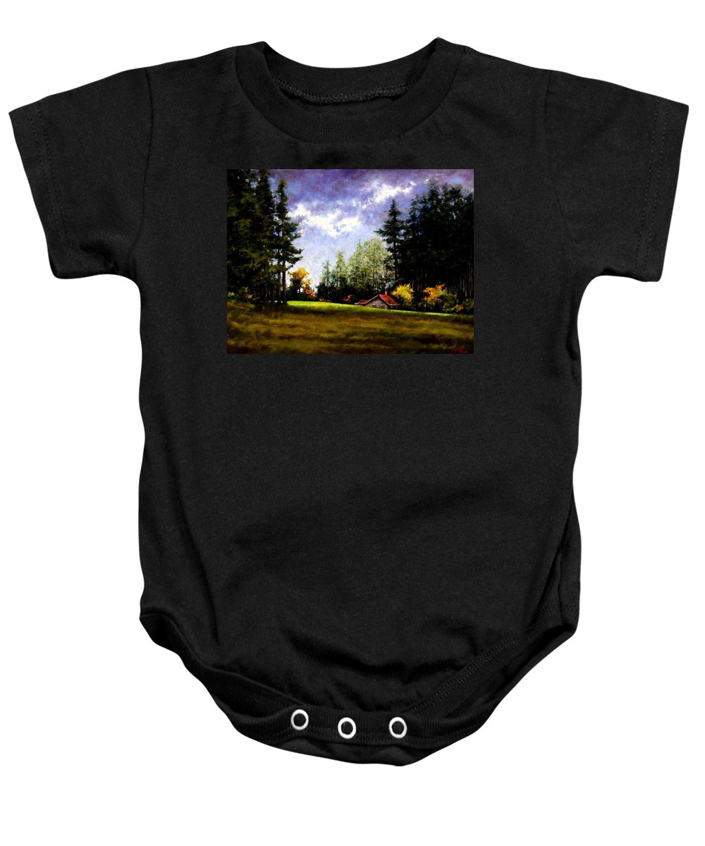 Landscape Baby Onesie featuring the painting Battle Ground Park by Jim Gola