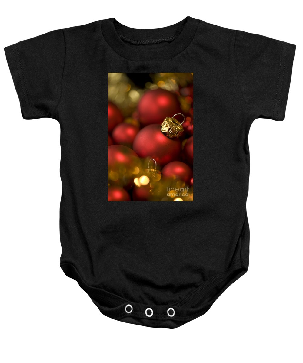 Background Baby Onesie featuring the photograph Baubles by Anne Gilbert