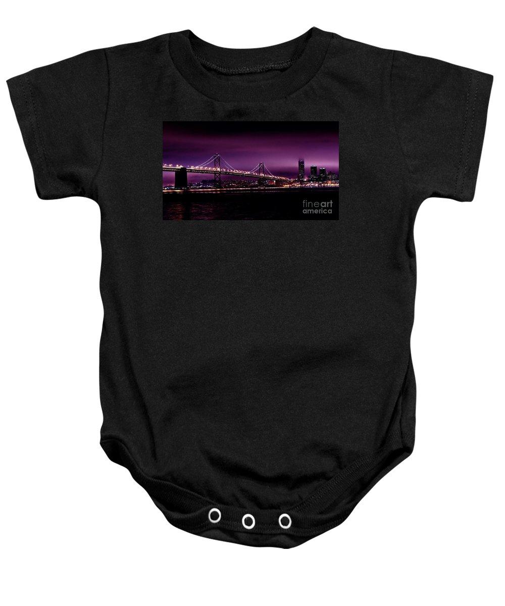 Urban Landscapes Baby Onesie featuring the photograph Bay Bridge Purple Haze by Digital Kulprits