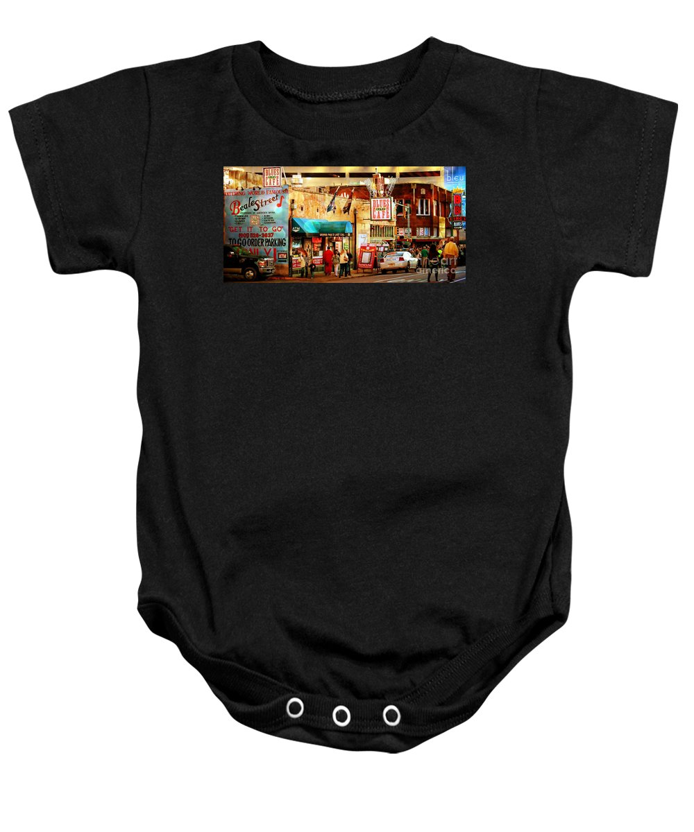 Beale Street Baby Onesie featuring the photograph Beale Street by Barbara Chichester