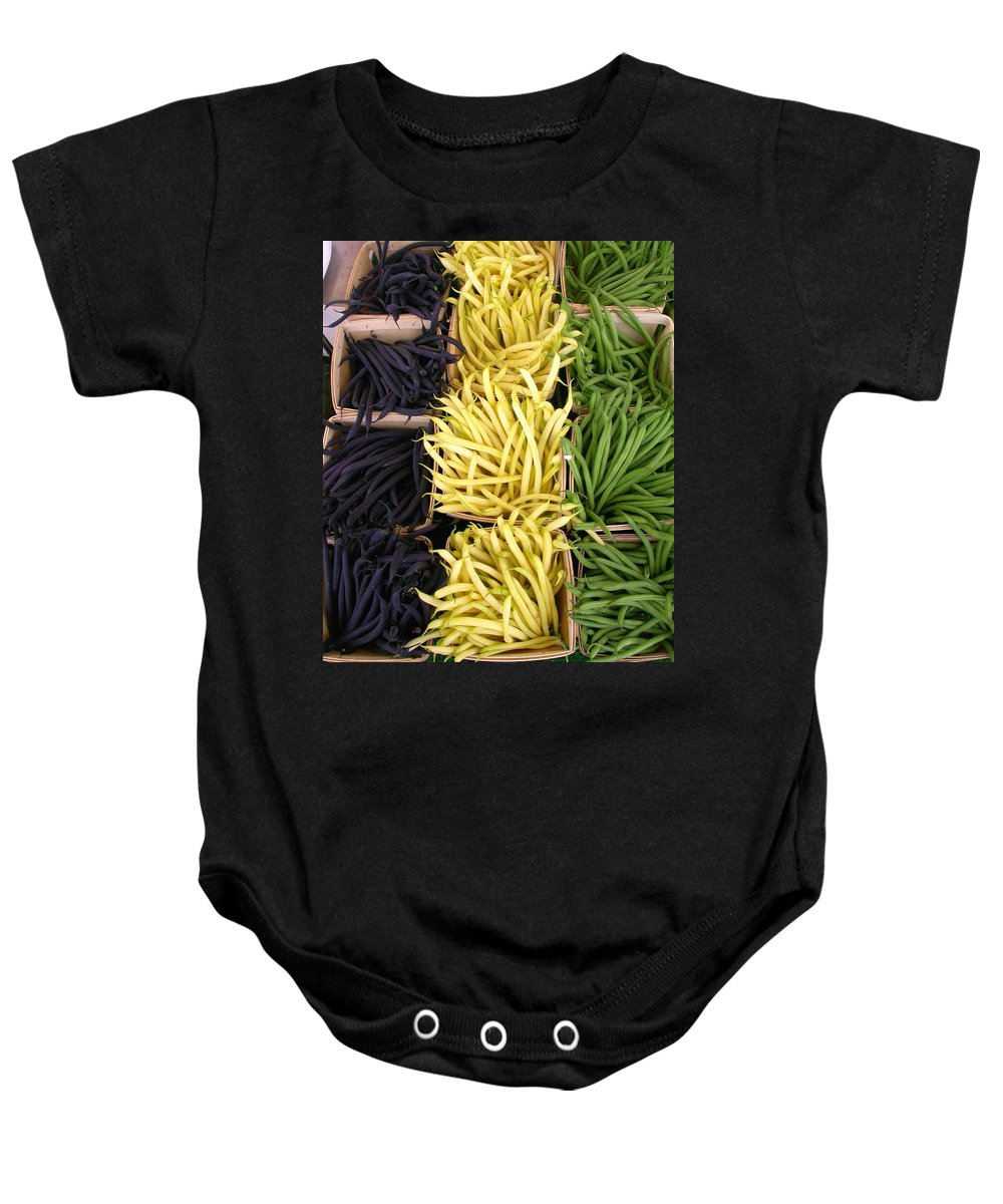 Purple Beans Baby Onesie featuring the photograph Bean Trio by Cynthia Wallentine