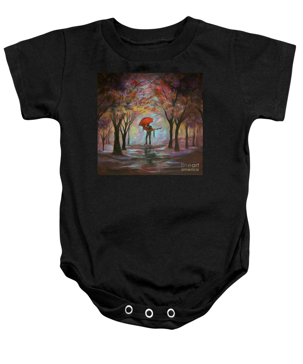 Couple Painting Baby Onesie featuring the painting Beautiful Romance by Leslie Allen