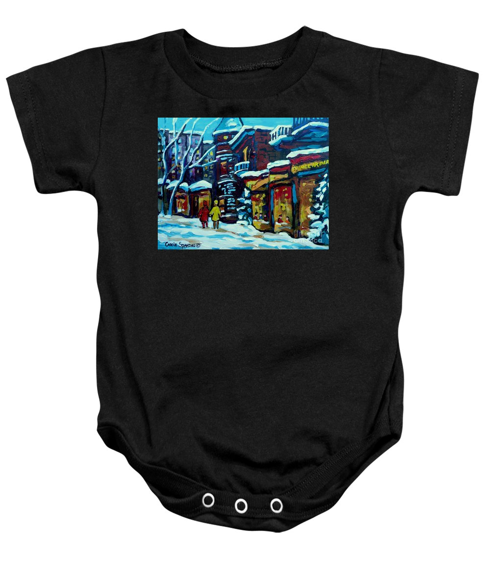 Beautiful Winter Evening Baby Onesie featuring the painting Beautiful Winter Evening by Carole Spandau