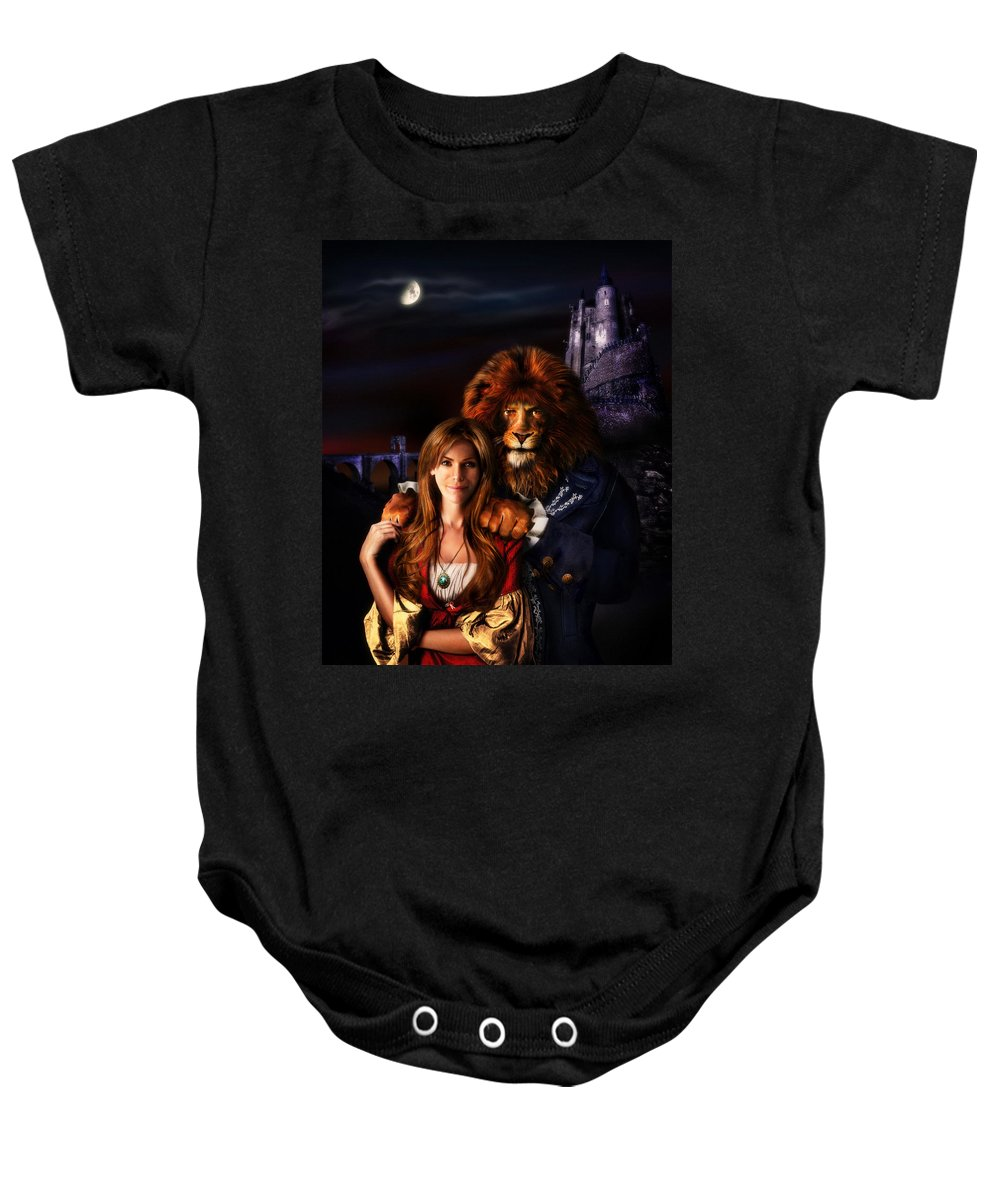 Beauty And The Beast Baby Onesie featuring the digital art Beauty And The Beast by Alessandro Della Pietra
