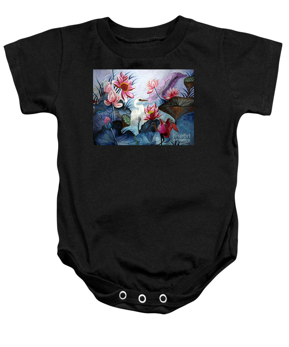 Lotus Baby Onesie featuring the tapestry - textile Beauty Of The Lake Hand Embroidery by To-Tam Gerwe