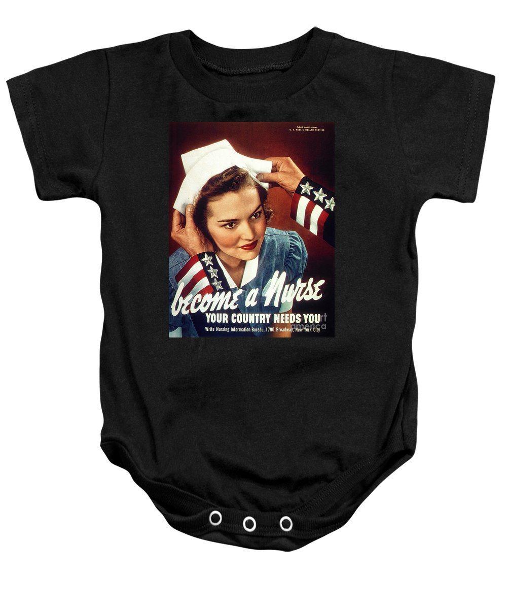 Uncle Sam Baby Onesie featuring the digital art Become A Nurse by Doc Braham