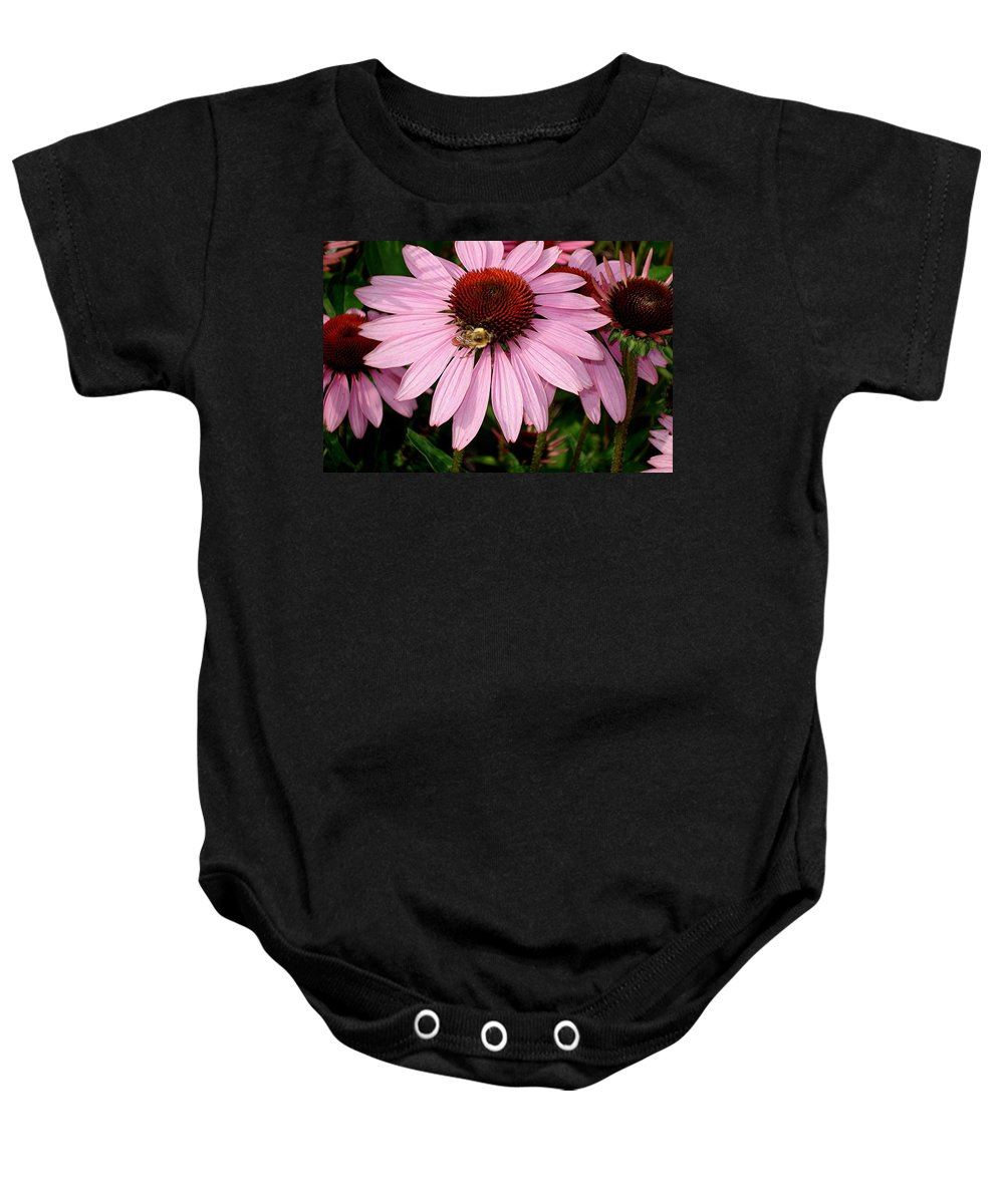 Flowers Baby Onesie featuring the photograph Bee Mine by Mary Marsh