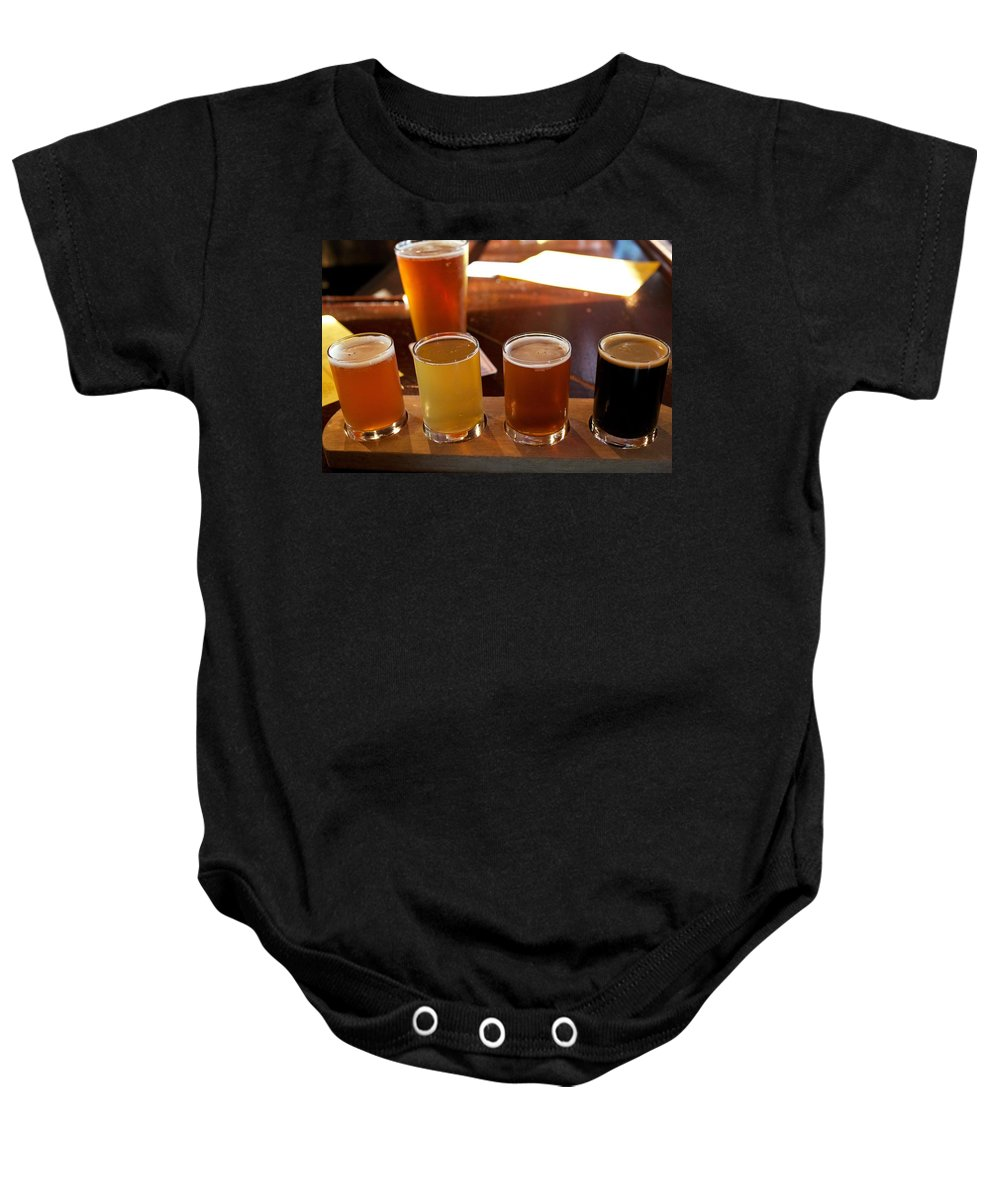 Microbrew Baby Onesie featuring the photograph Beer Sampler by Allan Morrison