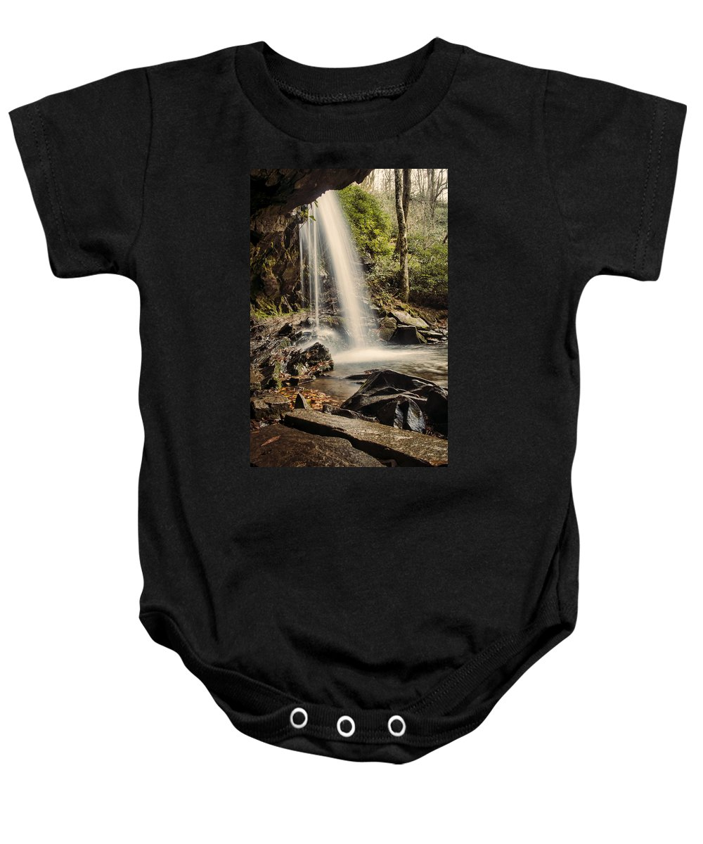 Grotto Falls Baby Onesie featuring the photograph Behind The Falls by Heather Applegate
