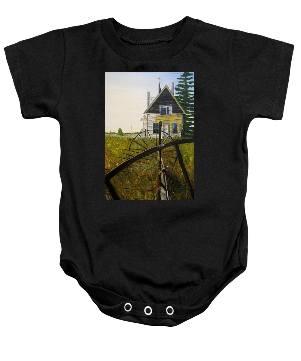 Church Baby Onesie featuring the painting Behind The Old Church by Marilyn McNish