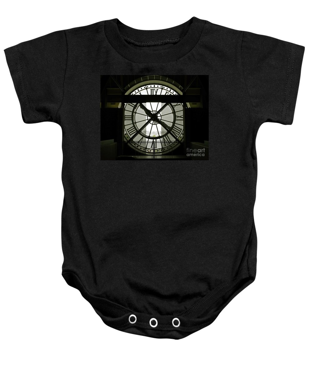 Clock Baby Onesie featuring the photograph Behind Time by Ann Horn