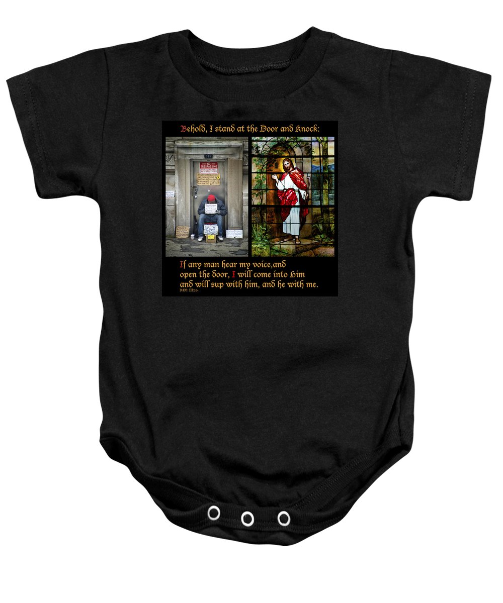 Abandoned Baby Onesie featuring the photograph Behold I Stand At The Door And Knock Composite by Thomas Woolworth