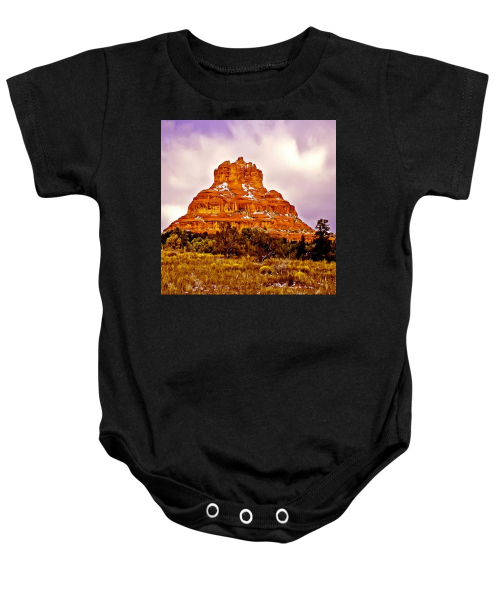Bell Baby Onesie featuring the painting Bell Rock Sedona Az by Bob and Nadine Johnston