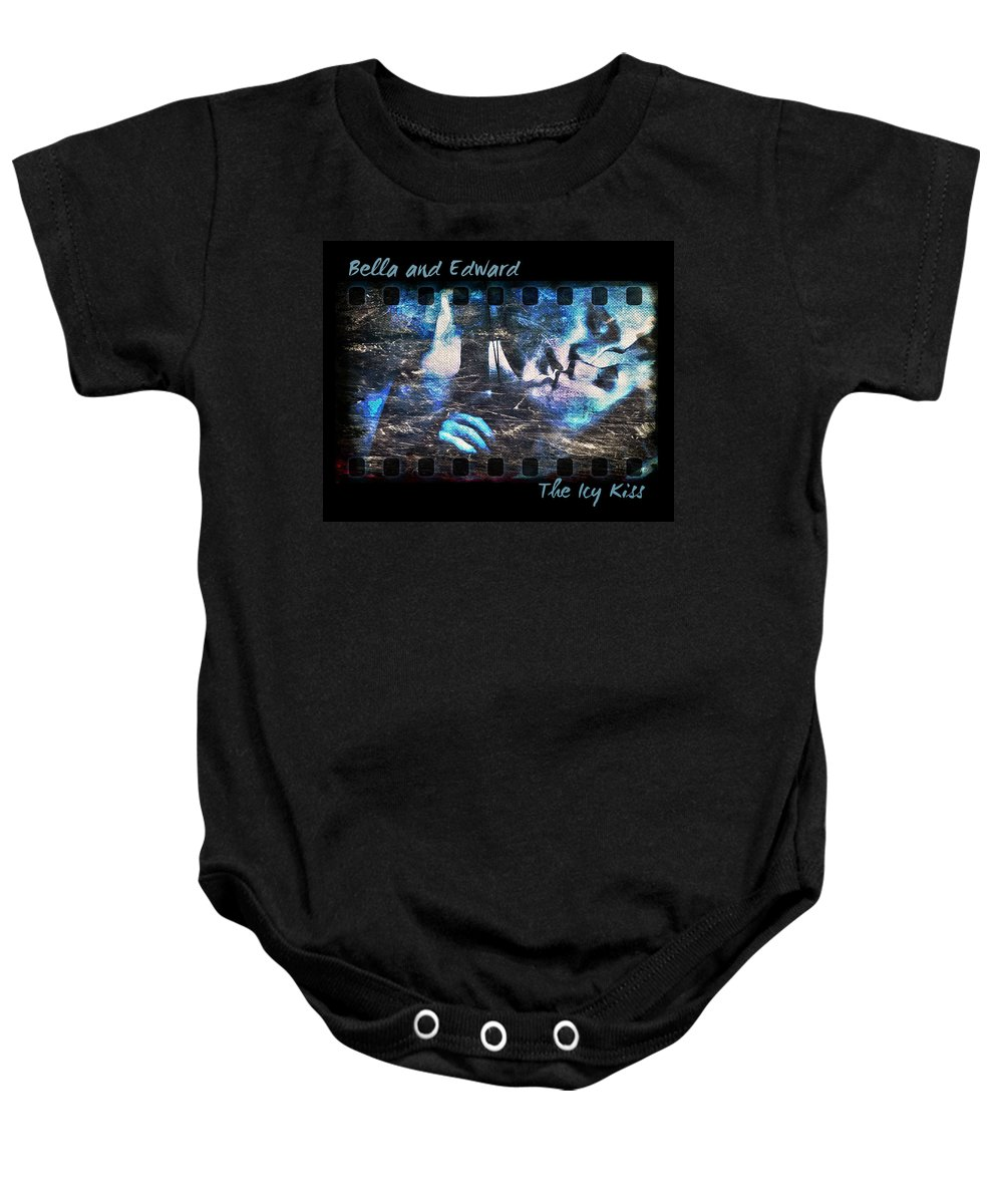 Bella Baby Onesie featuring the digital art Bella And Edward - The Icy Kiss by Absinthe Art By Michelle LeAnn Scott