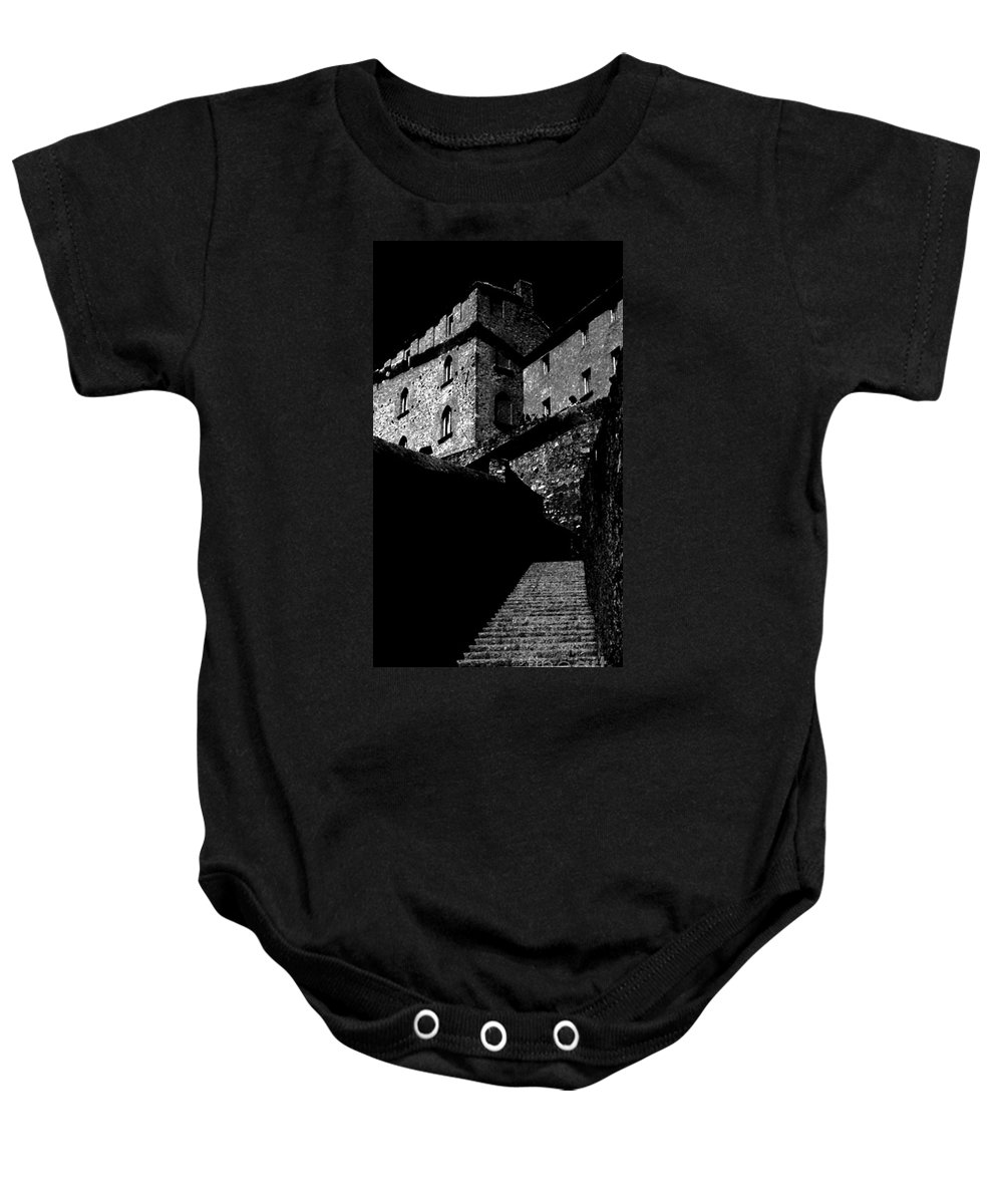 Digital Black And White Photo Baby Onesie featuring the digital art Bellinzona Castle Bw by Tim Richards