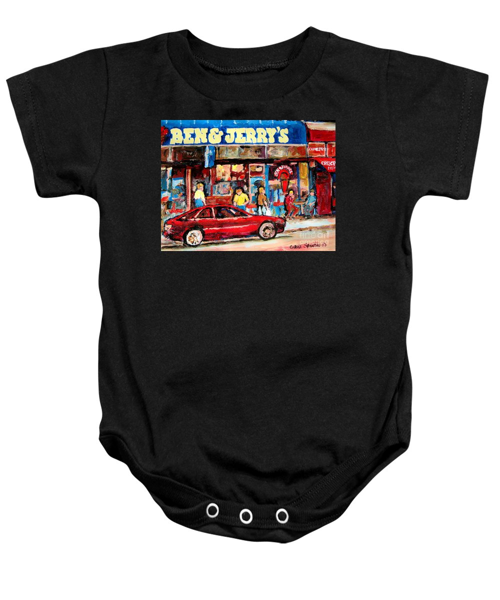 Cafescenes Baby Onesie featuring the painting Ben And Jerrys Ice Cream Parlor by Carole Spandau