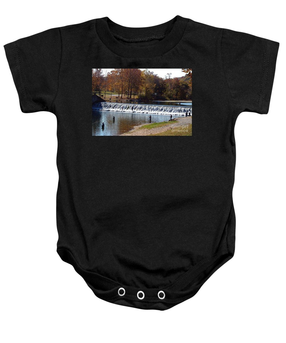 Bennett Springs Baby Onesie featuring the photograph Bennett Springs Spillway by Sara Raber