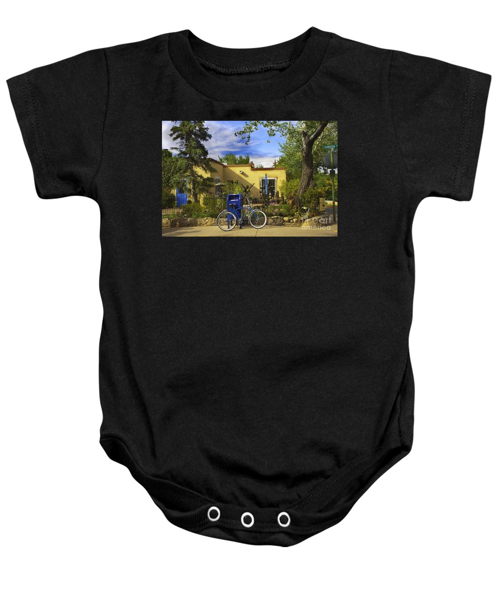Bicycle Baby Onesie featuring the photograph Bicycle In Santa Fe by Madeline Ellis