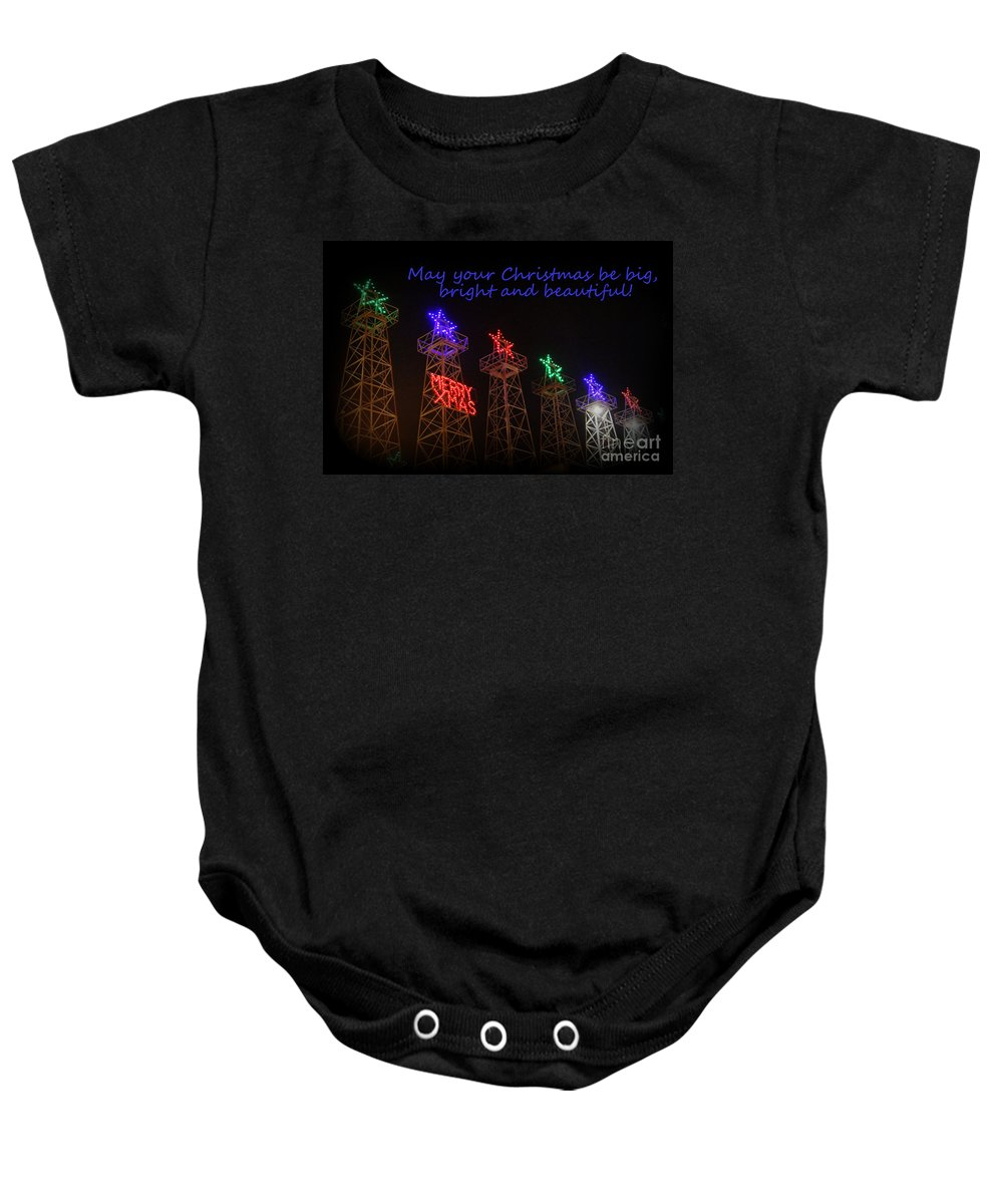 Christmas Cards Baby Onesie featuring the photograph Big Bright Christmas Greeting by Kathy White