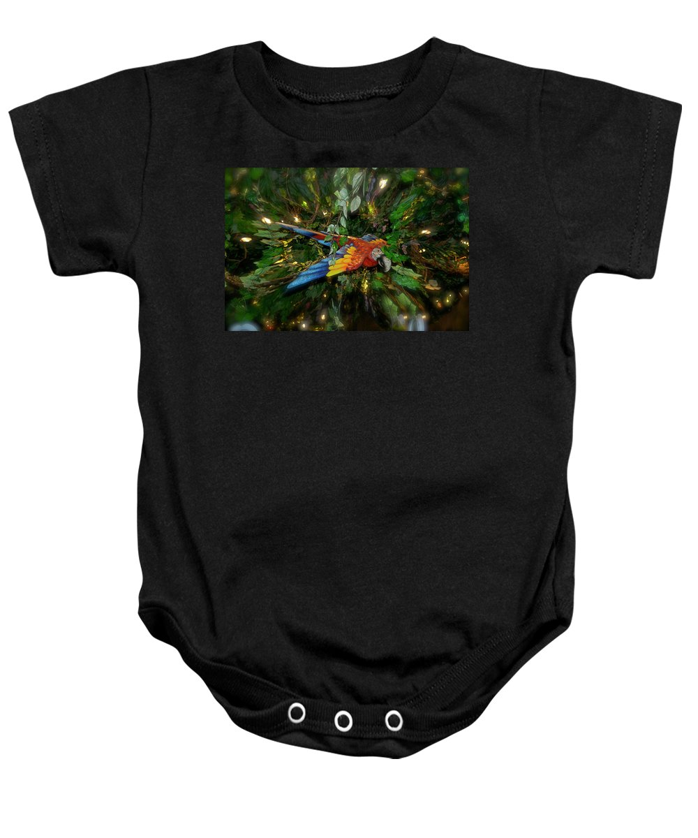 Scarlet Mccaw Baby Onesie featuring the photograph Big Glider Macaw Digital Art by Thomas Woolworth