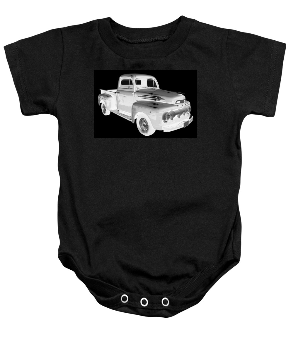 F1 Ford Pickup Truck Baby Onesie featuring the photograph Black And White 1951 Ford F-1 Pickup Truck by Keith Webber Jr