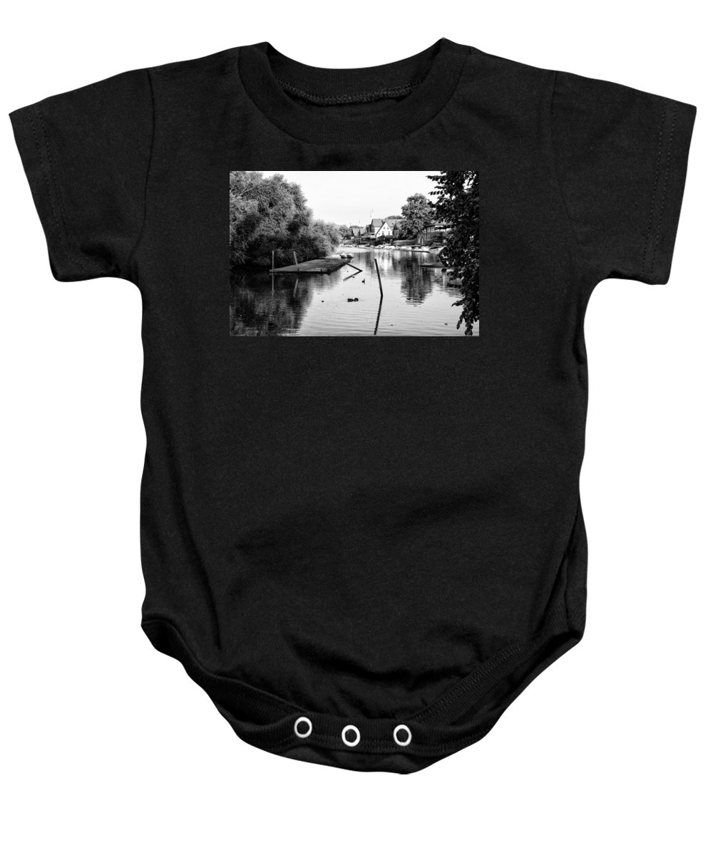 Black And White Baby Onesie featuring the photograph Black And White - Boathouse Row by Bill Cannon