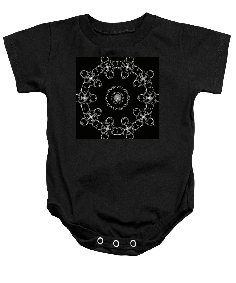 Intricate Baby Onesie featuring the mixed media Black And White Medallion 3 by Angelina Vick