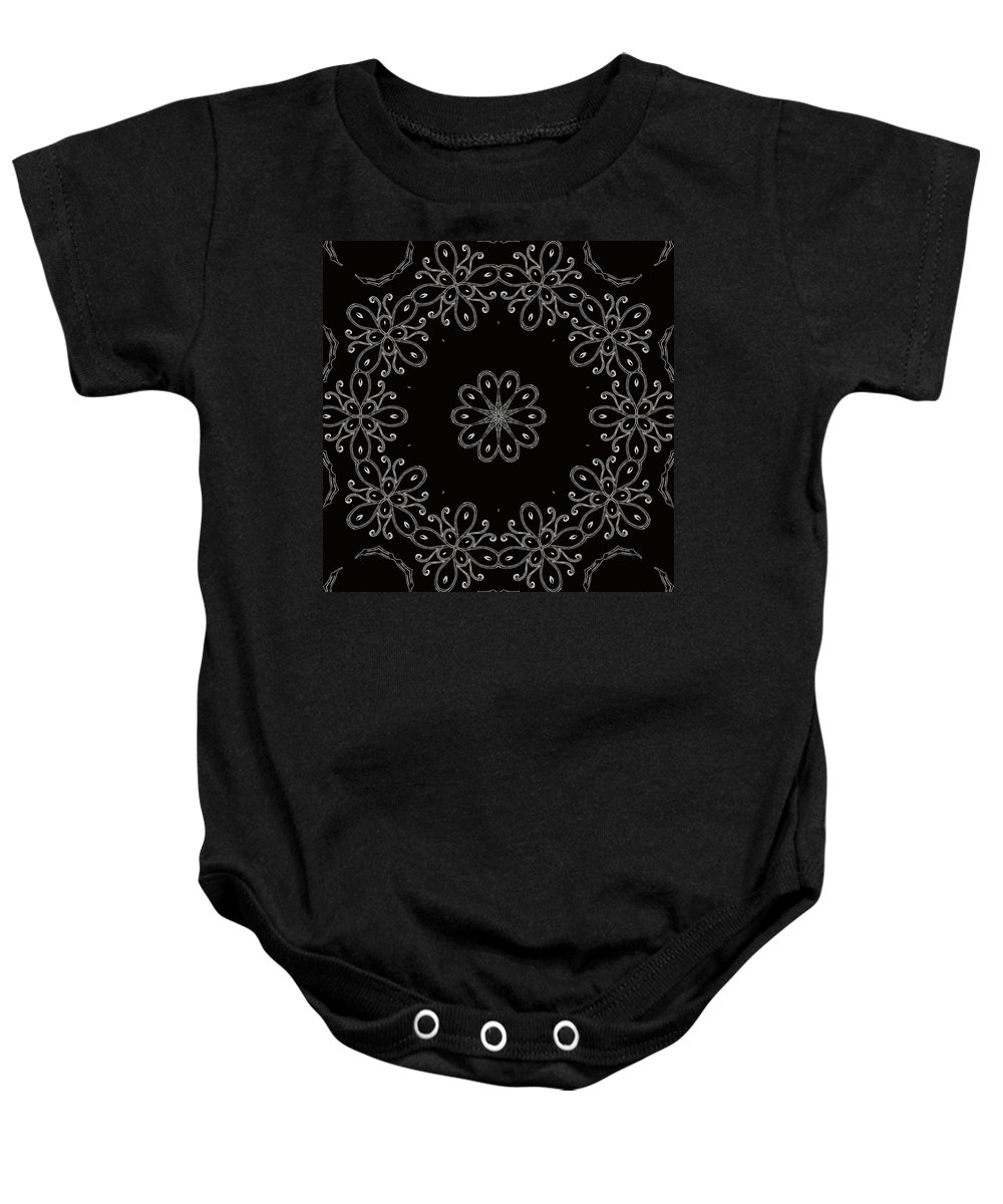Intricate Baby Onesie featuring the mixed media Black And White Medallion 4 by Angelina Vick