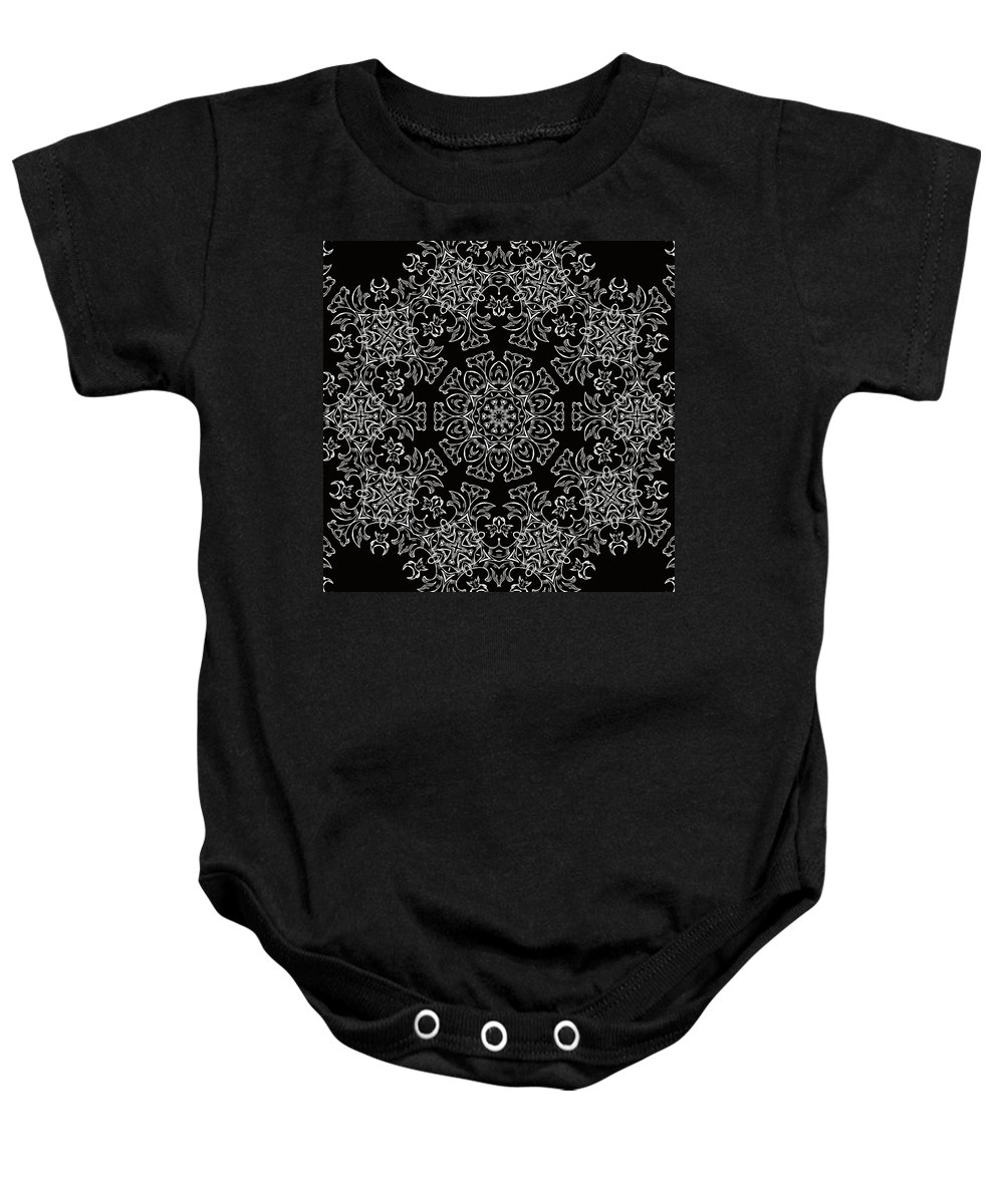 Intricate Baby Onesie featuring the mixed media Black And White Medallion 7 by Angelina Vick