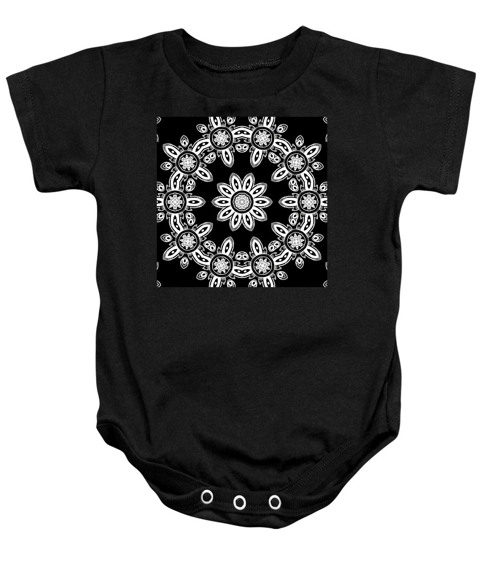 Intricate Baby Onesie featuring the mixed media Black And White Medallion 8 by Angelina Vick