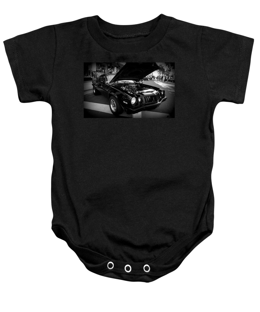 Chevy Camaro Baby Onesie featuring the photograph Black Beauty by Laurie Perry