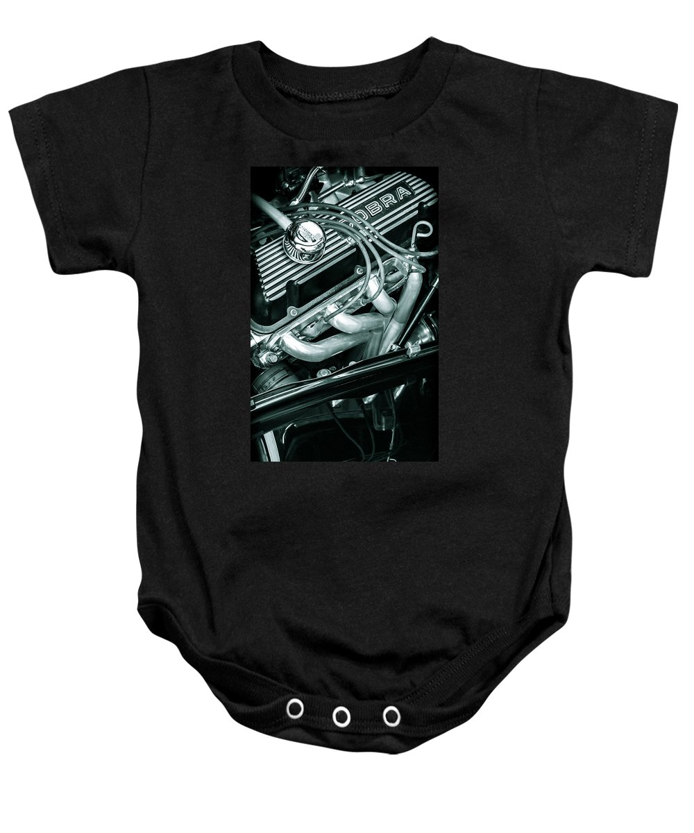 Chrome Baby Onesie featuring the photograph Black Cobra - Ford Cobra Engines by Steven Milner