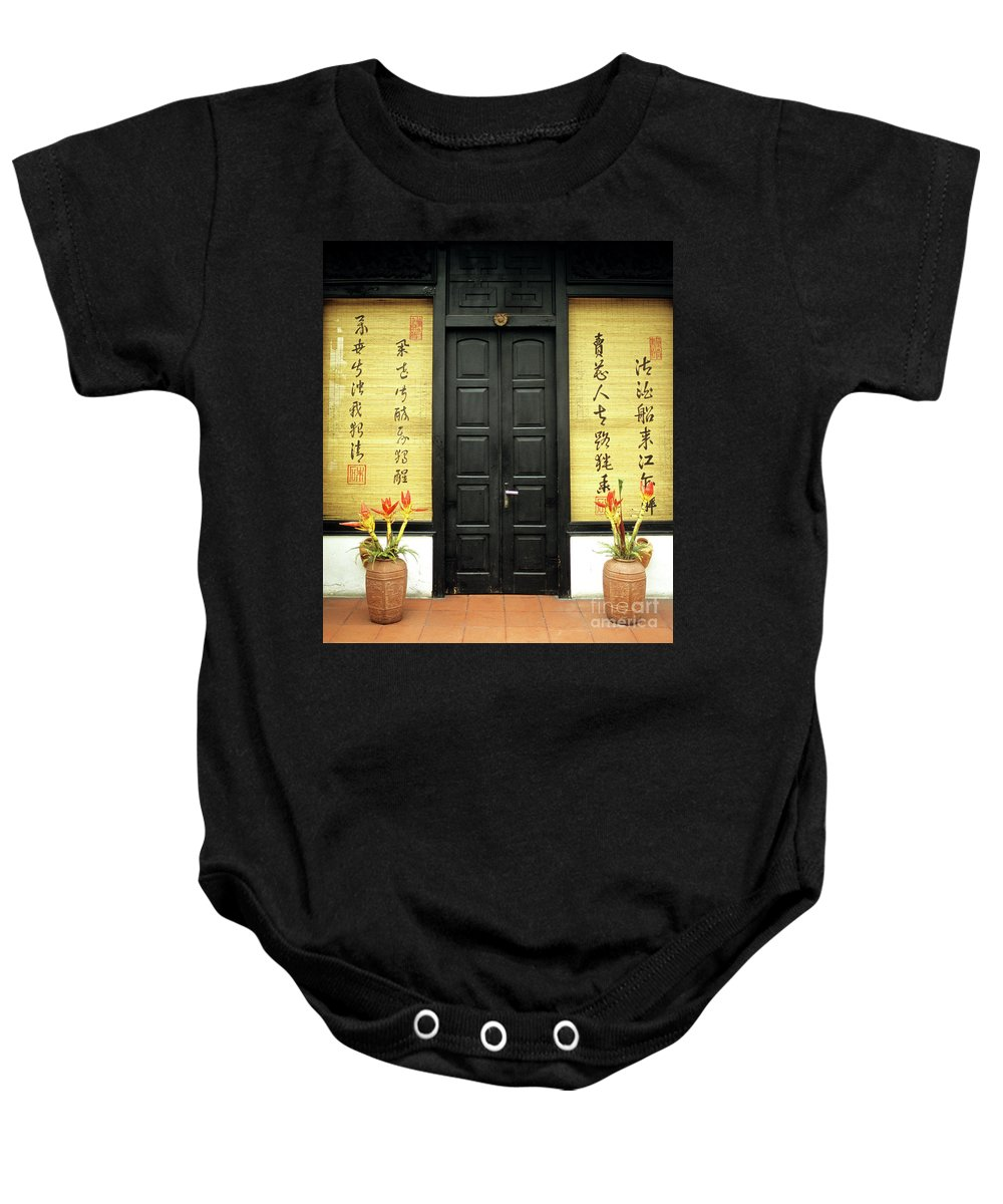 Vietnam Baby Onesie featuring the photograph Black Doors by Rick Piper Photography