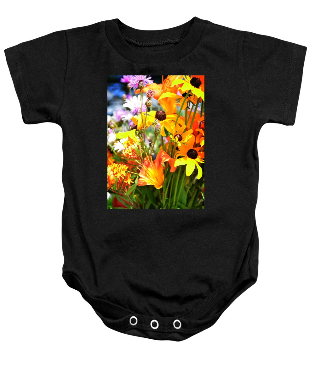 Daisy Baby Onesie featuring the photograph Black Eyed Susan Bouquet by Lj Lambert