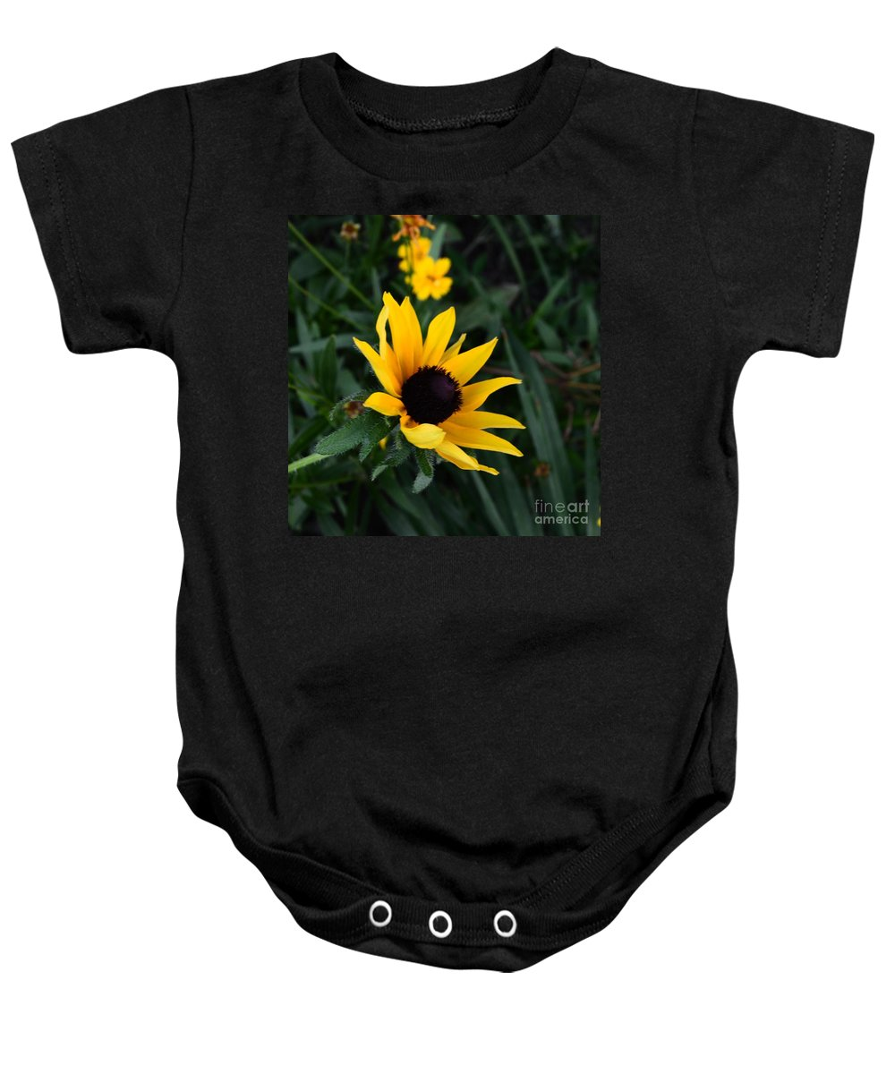 Black Eye Susan Baby Onesie featuring the photograph Black-eyed Susan Glows With Cheer by Luther Fine Art