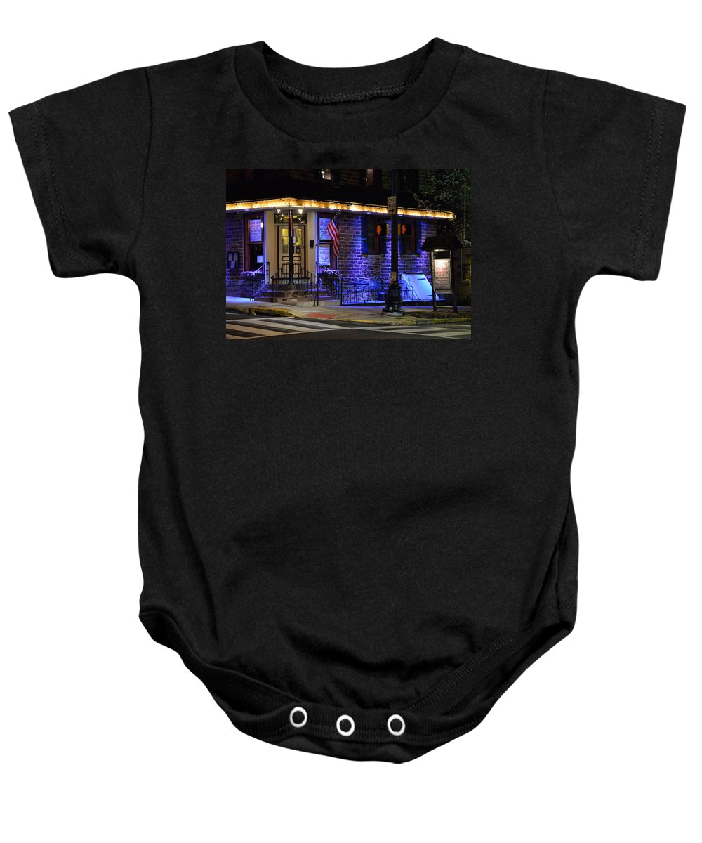 Bucks County Baby Onesie featuring the photograph Black Horse Tavern by William Jobes