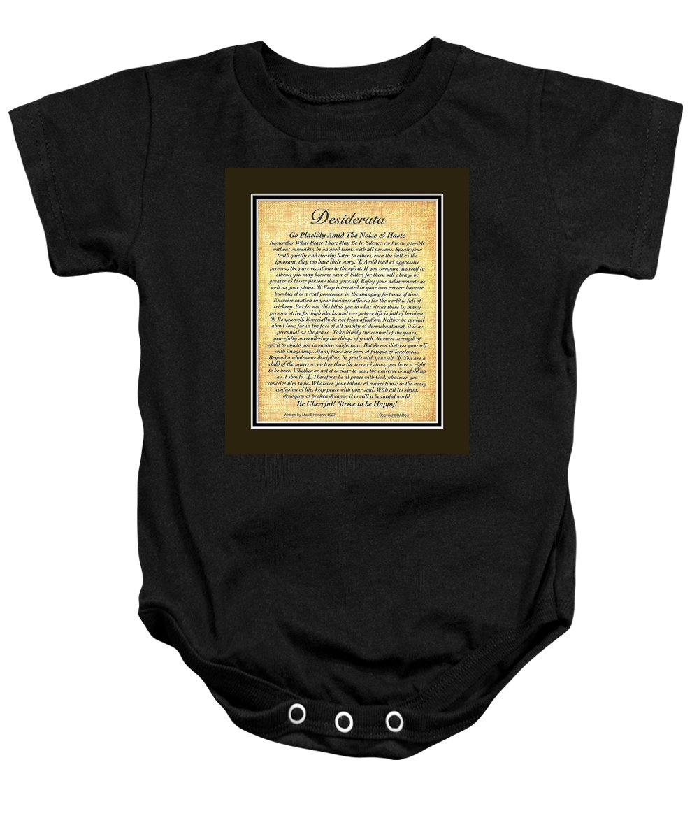 Desiderata Baby Onesie featuring the mixed media Black Matted Fossillized Desiderata by Desiderata Gallery