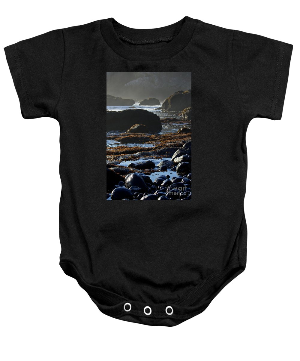 Black Rocks Baby Onesie featuring the photograph Black Rocks Lichen And Sea by Belinda Greb