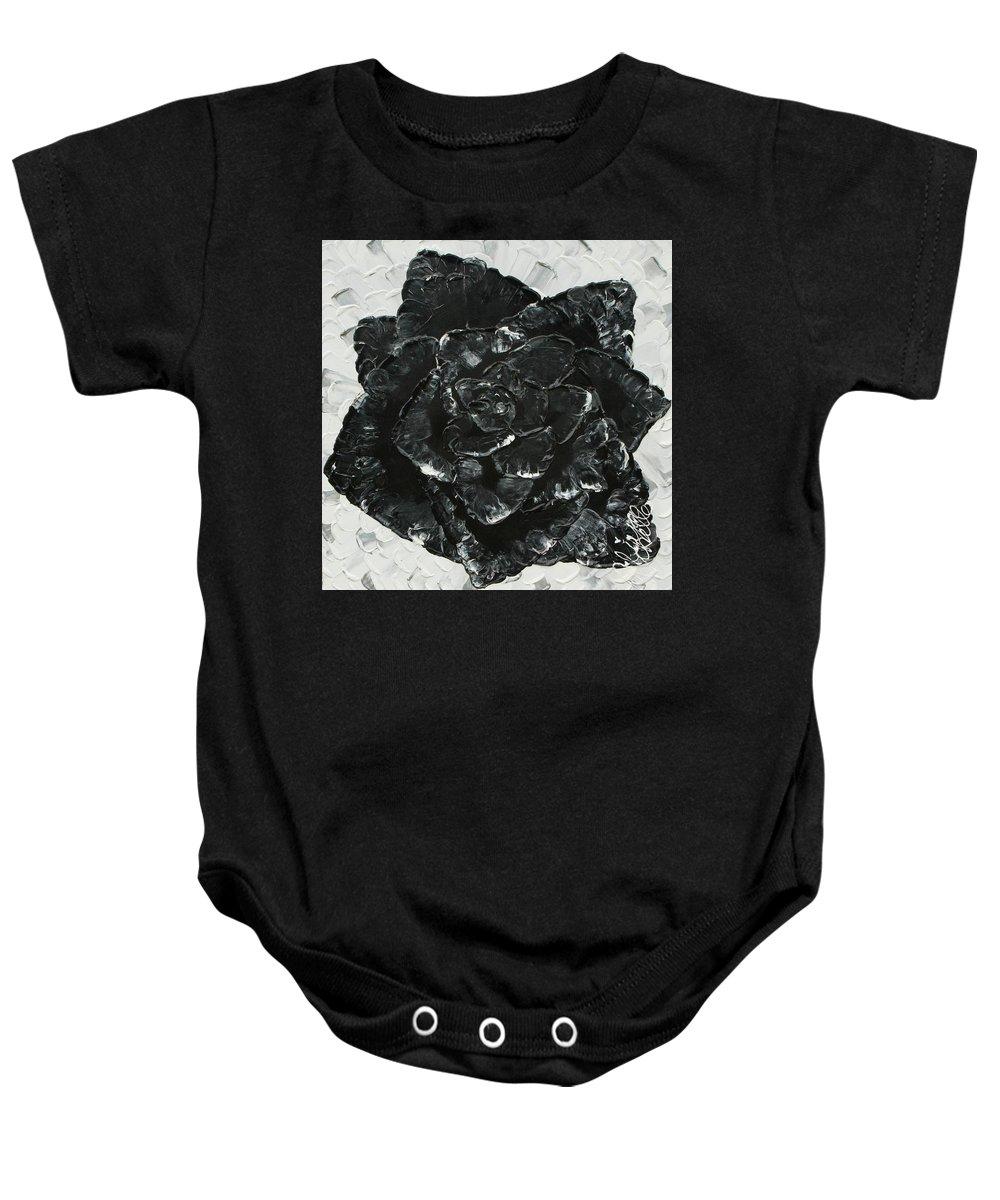 Aliya Michelle Baby Onesie featuring the painting Black Rose I by Aliya Michelle