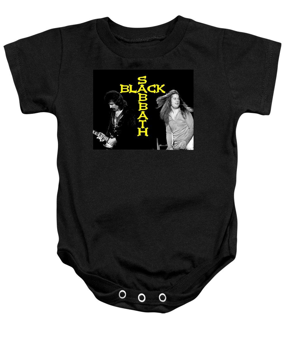 Black Sabbath Baby Onesie featuring the photograph Black Sabbath 1978 by Ben Upham