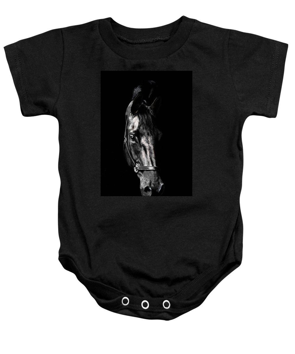 Horse Baby Onesie featuring the photograph Black Satin by Nadine Lewis