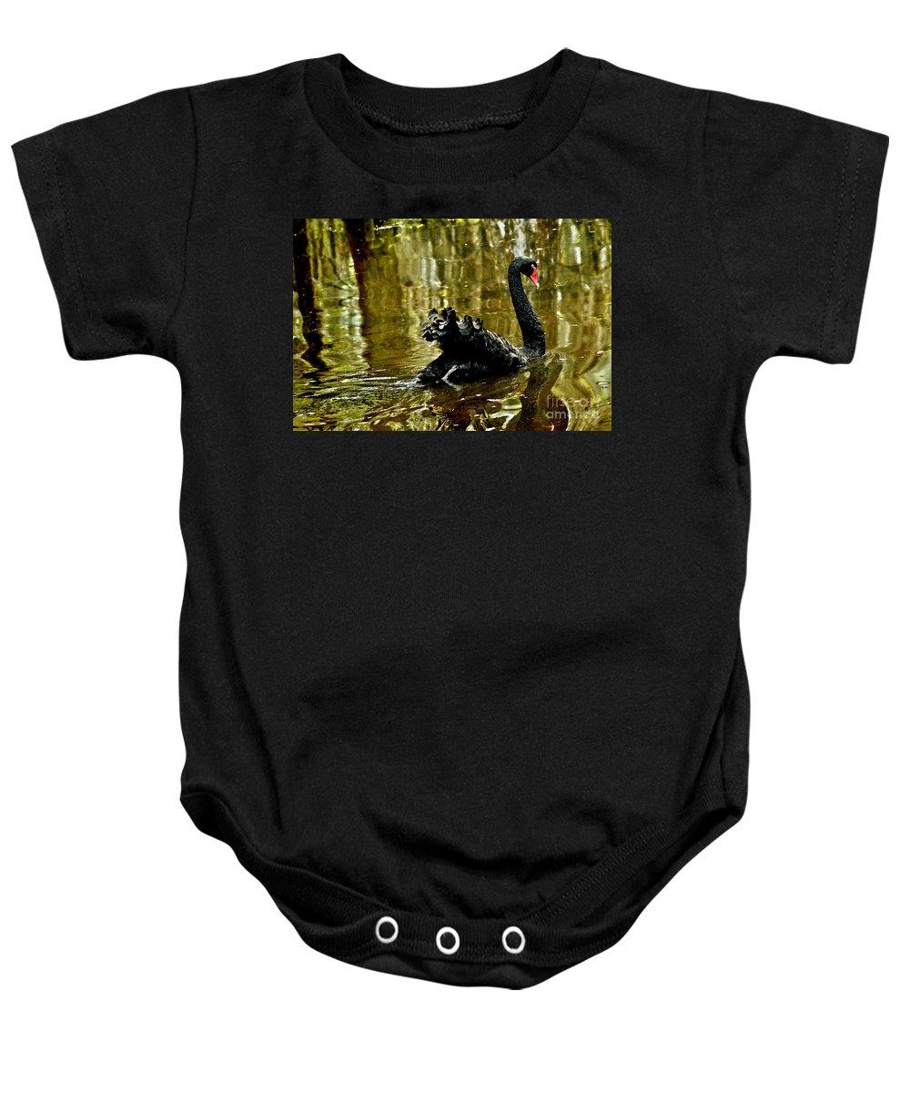 Swan Lake Baby Onesie featuring the digital art Black Swan Lake by Jeff McJunkin